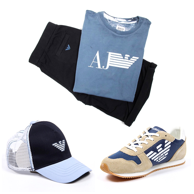 Armani junior hats, sneakers, bermudas and t-shirts