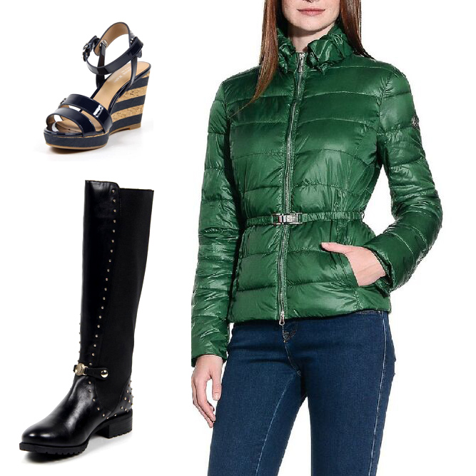 Armani woman anoraks, wedge sandals and jack boots