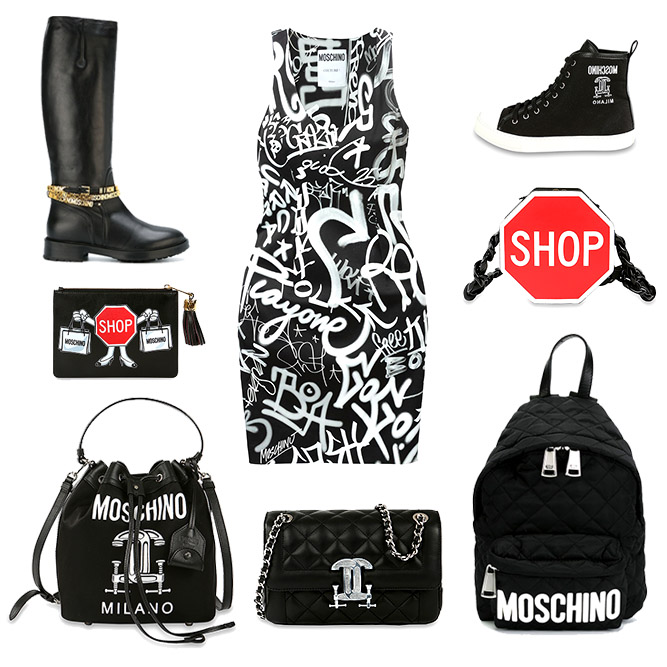 Moschino woman bags, clothes and shoes